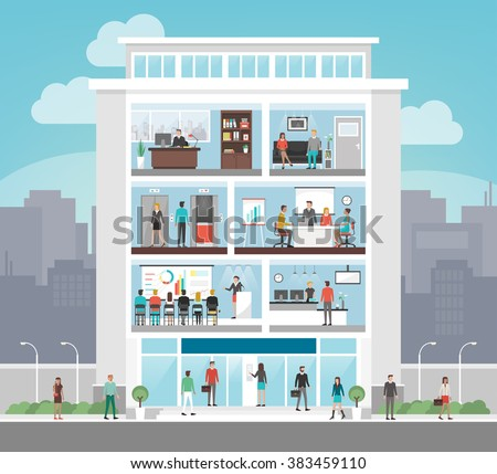 Corporate building with room interiors, office, waiting room, conference room, elevators and reception, business and finance concept, city on background