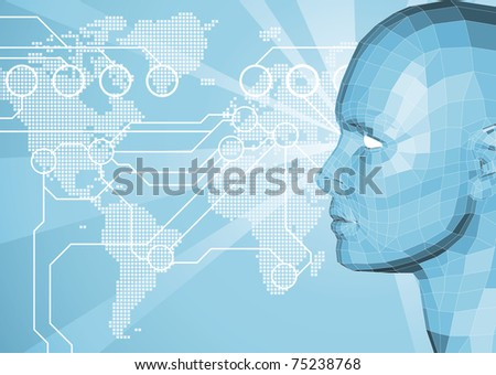 Corporate business background with face and world map in the background. World travel, communication or internet network concept.