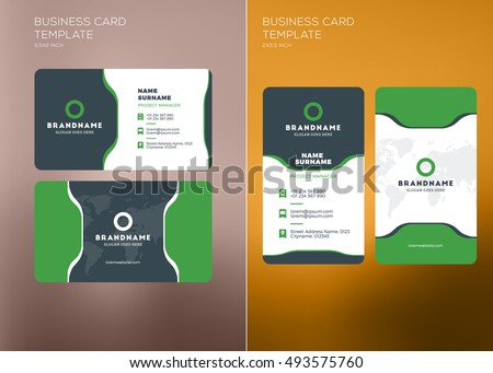Business Card With Green Color Download Free Vector Art Stock