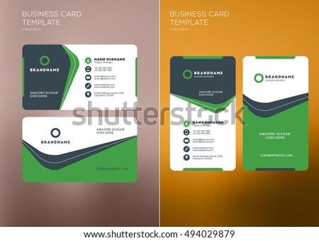 Clean Green Visit Card Vector Design Illustration Download Free