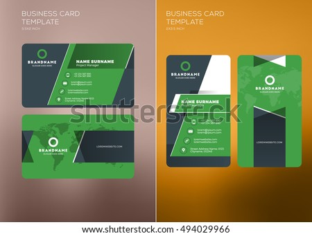 corporate business card print template personal visiting card with company logo vertical and horizontal