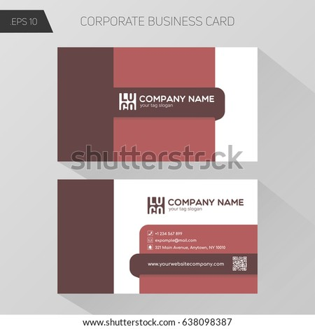 Corporate Business Card Template, front and bottom side design. Basic palette, color red.