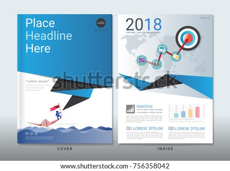 Corporate business cover book design template with infographics, Use for leaflet, poster, flyer, annual report, brochure, sale kit, catalog, magazine, booklet, portfolio, Vector template in A4 layout.