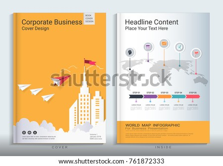 Corporate business cover book design template with infographics, Use for poster, annual report, brochure, flyer, leaflet, sale kit, catalog, magazine, booklet, portfolio, Vector template in A4 layout.