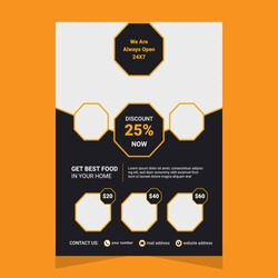 Corporate Business Flyer. poster pamphlet brochure cover design layout with graphic elements. two colors scheme vector template.A4 size Vector.Brochure template layout.cover design.restaurant flyer