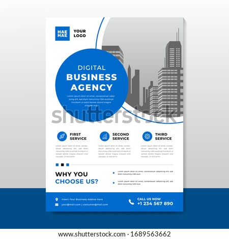 Corporate business flyer poster pamphlet brochure cover template design with blue color on a4 paper size. For marketing, business proposal, promotion, advertise, publication, cover page