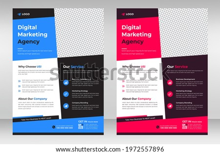 Corporate business flyer template design set with blue and pink color. marketing, business proposal, promotion, advertise, publication, cover page. digital marketing agency flyer design. Foto stock ©