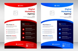 Corporate business flyer template design set with blue and red color. marketing, business proposal, promotion, advertise, publication, cover page. digital marketing agency flyer design.