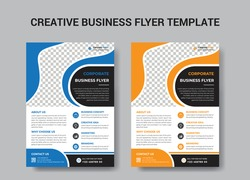 Corporate Business Flyer Template vector design for Brochure, Annual Report, Magazine, Poster, Corporate Presentation, Portfolio, Flyer, layout leaflet promotion marketing blue green orange abstract