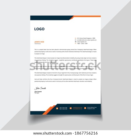 Corporate Business Letterhead, Elegant and minimalist style letterhead template design - Vector.