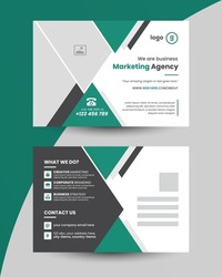 Corporate business postcard design template with creative modern layout