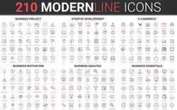 Corporate business startup red black thin line icon set of financial data technology, success strategy, development business finance investment, successful project start symbols vector illustration.