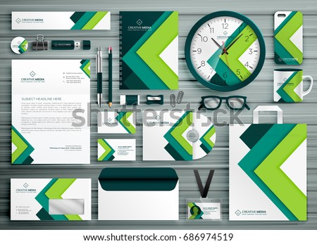 corporate business stationery template set mockup design with green geometric shape