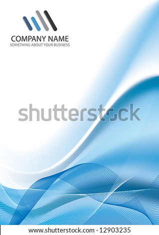 Corporate Business Template Background (Blue wave design) - stock vector
