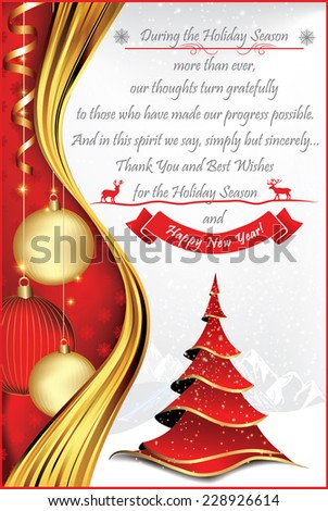 Corporate christmas and new year greeting card for print contains a corporate christmas and new year greeting card for print contains a thank you message from company to its stuff and clients a red christmas tree m4hsunfo