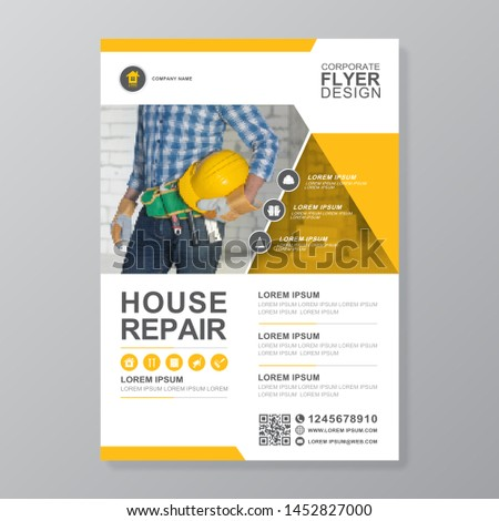 Corporate construction tools cover a4 template and flat icons for a report and brochure design, flyer, banner, leaflets decoration for printing and presentation vector illustration