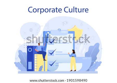 Corporate culture concept. Corporate relations. Business ethics. Corporate regulations compliance. Company policy and business course. Isolated flat vector illustration