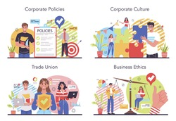 Corporate culture concept set. Corporate relations. Business ethics. Corporate regulations compliance. Company policy and business course. Isolated flat vector illustration