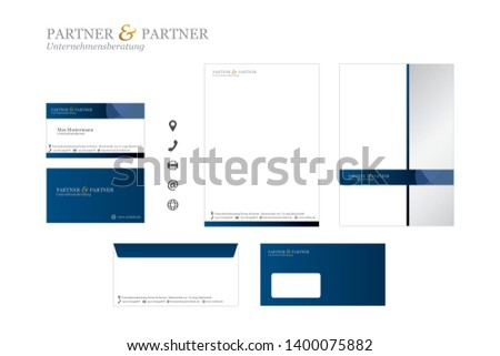 Corporate Design (CD) SET with Logo Business Card Evenlope Letter - Vector Illustration #1400075882
