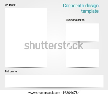 Corporate design template - isolated set of A4 paper, business card and full banner mock up