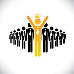 corporate employee beating competition - success vector concept. This graphic illustration also represents achievement, climbing the ladder, best employee, beating rivals, achieving glory