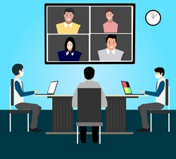 Corporate Employee meeting after pandemic covid-19 corona virus. New normal is social distancing and video conference concept