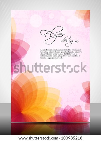 Corporate flyer, poster or cover design with colorful floral design in bright colors and space for your text. EPS10, Vector Illustration.
