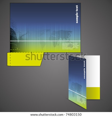 Corporate folder with die cut design - stock vector