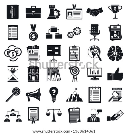 Corporate governance office icons set. Simple set of corporate governance office vector icons for web design on white background
