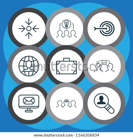 Corporate icons set with collaboration, international vacancy, collaborative idea and other collaborative solution elements. Isolated vector illustration corporate icons.