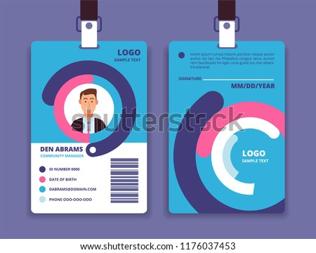 Corporate id card. Professional employee identity badge with man avatar. Vector design template. Id card identity, corporate business template badge pass illustration