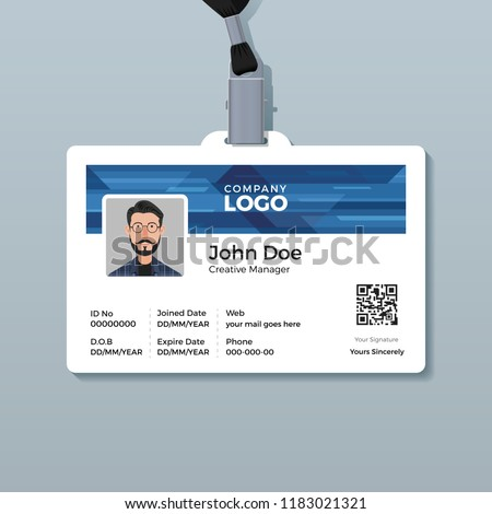 Corporate ID Card Template with Abstract Blue Technology Background