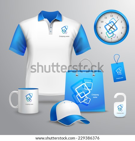 Corporate identity blue template decorative set with t-shirt clock cap vector illustration