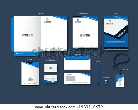 Corporate Identity Branding Kits In Blue And White Color. Foto stock ©