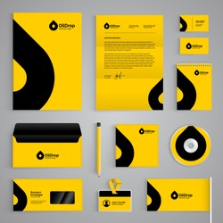 Corporate identity branding template. Abstract vector stationery design with oil drop symbol on yellow background. Business documentation