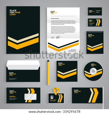 Corporate identity branding template. Abstract vector stationery design with yellow stripes illustration on dark background. Business documentation