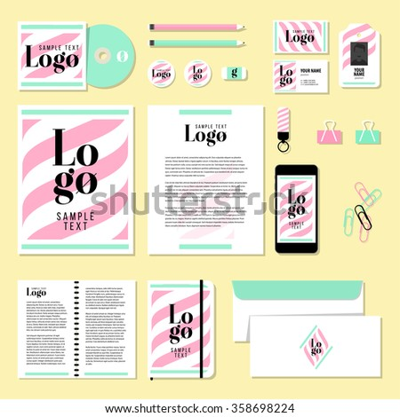 Corporate identity business set design. Vector stationery template design with sample logo and text elements. Documentation for business.