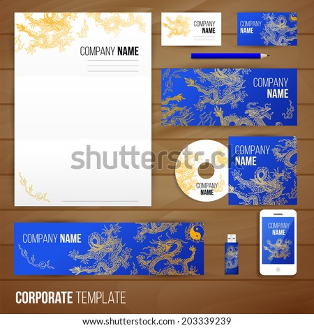 Corporate identity business set design with asia dragons. Abstract background. Vector illustration.Hand drawn illustration. Sketch. - Shutterstock ID 203339239