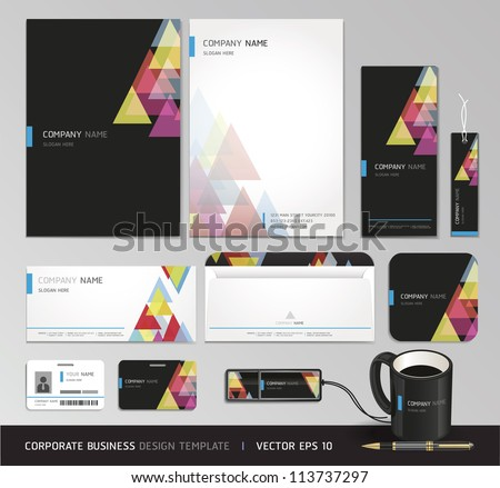 Corporate identity business set. Vector illustration.