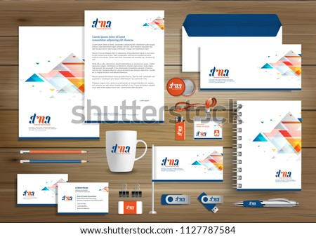 Corporate Identity Business  template design Vector abstract stationery , Gift Items Color promotional souvenirs elements. link digital technology set,