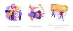 Corporate identity, company personality development. Reputation management. Brand building, brand persona, brand communication guideline metaphors. Vector isolated concept metaphor illustrations