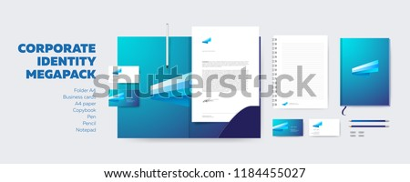 Corporate Identity Design Megapack. Stationery Corporate Design Vector Mockup. Business Creative Logo on A4 Letter, Folder and Visit Card. Branding.
