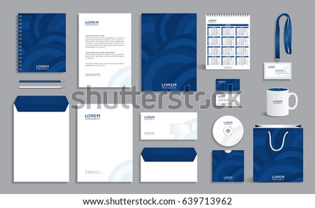 Corporate identity design template with blue circles background