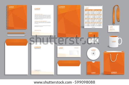 Corporate identity design template with orange polygonal pattern