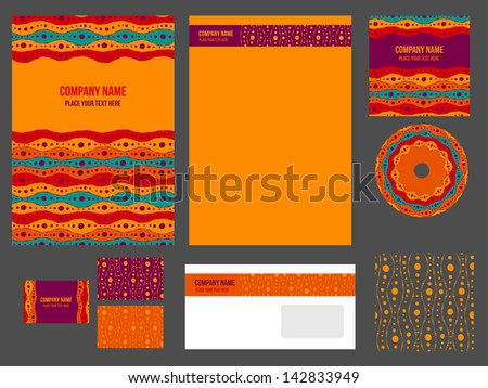 Corporate identity for company or event. Vector template for business stationery set.