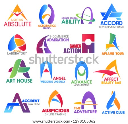 Corporate identity letter A business icons. Vector electricity and hobby, education and banking, science and ecommerce. Gaming, travel and art, entertainment and beauty, law and trading, activity