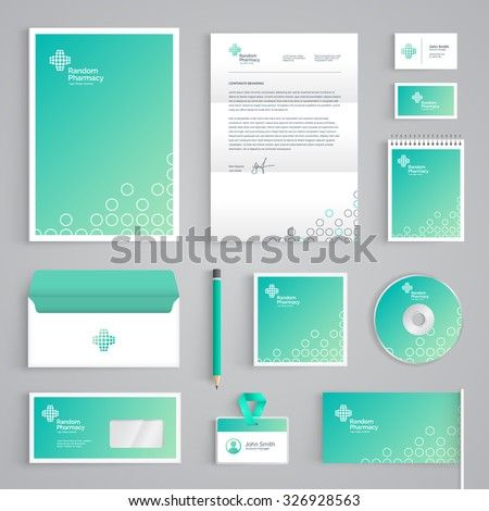 Corporate identity medical branding template. Abstract Pharmacy vector stationery design on light green background. Business documentation