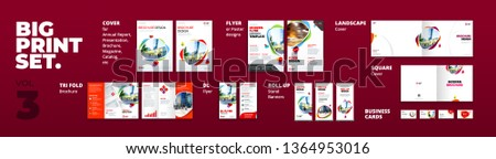 Corporate identity print template set brochure cover, flyer, tri fold, business card, roll up. Branding design. Business stationery mock-up collection.