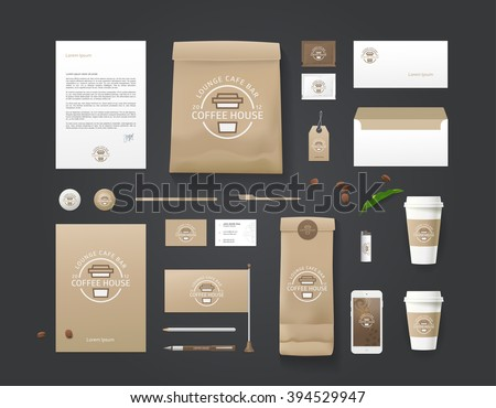 Corporate identity template. Business set for coffee shop, cafe, restaurant. Branding MockUps. Packages Mock-up Pack for your company. Coffee concept design Mock-up. Mock-up for your design