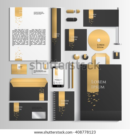 Corporate identity template in black and gold colors with an illustration with leaves. Vector company style for brand book and guideline. EPS 10